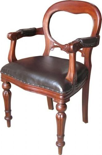 Dutch Carver with Leather Upholstery